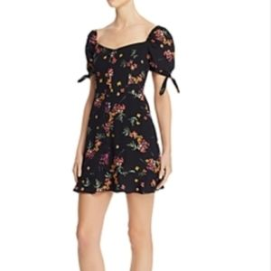 Olivaceous floral dress with puff sleeves